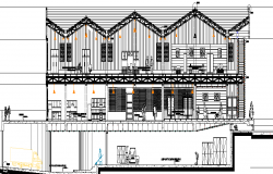 Elevation of a big showroom and complex dwg file