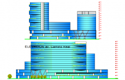 Elevation of a modern hotel dwg file