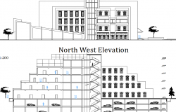 Elevation of a municipal  building dwg file