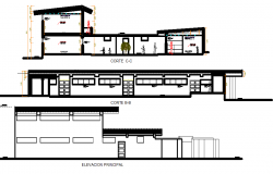 Elevation of a restaurant building dwg file