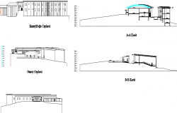 Elevation of a school  building dwg file