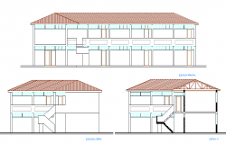 Elevation of a school dwg file
