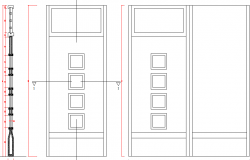 Elevation of a single door dwg file