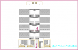 Elevation of apartment building dwg file