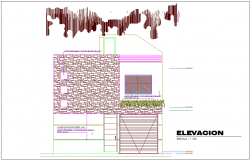Elevation of bungalows area with architecture view dwg file
