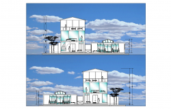 Elevation of city offices and cultural plan detail dwg file.