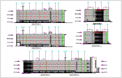 Elevation of commercial building dwg file