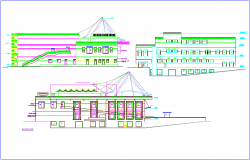 Elevation of different view for club house  dwg file