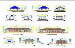 Elevation of different view with architectural view for office dwg file