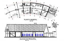 Elevation of ecological resort plan detail dwg file,