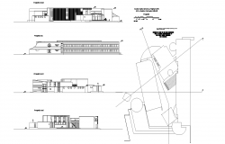 Elevation of gamer middle school plan detail dwg file.