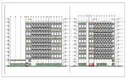 Elevation of hotel dwg file