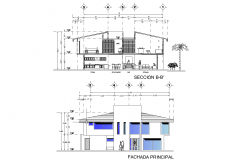 Elevation of one house plan detail dwg file,