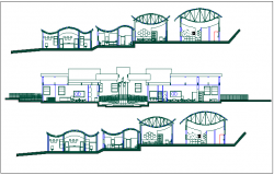 Elevation of pre school dwg file