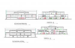 Elevation of steel framing detail plan dwg.