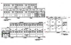 Elevation of the college campus in dwg file