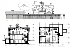 Elevation of villa and church dwg file