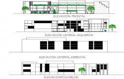 Elevation office centre commercial plan dwg file