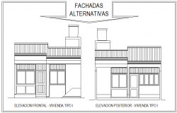 Elevation one family house autocad file