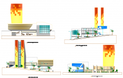Elevation shopping mall dwg file
