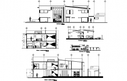 Elevation single family home plan detail autocad file