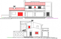 Elevation single family housing project detail autocad file
