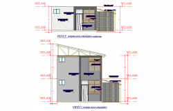 Elevation social housing plan autocad file