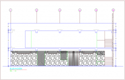 Elevation view for office building dwg file