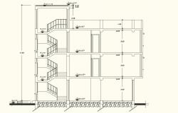 Elevation view for residence area building dwg file