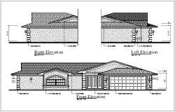 Elevation view in detail of bungalow dwg file