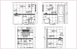 Elevation view of bathroom design for apartment dwg file