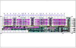 Elevation view of building design dwg file