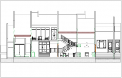 Elevation view of building with stair view dwg file