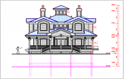 Elevation view of bungalow detail and dimensions of elevation dwg file