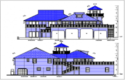 Elevation view of bungalow detail dwg file
