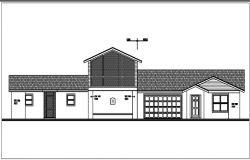 Elevation view of bungalow dwg file
