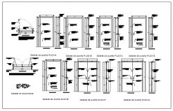 Elevation view of carpentry door view dwg file