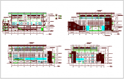 Elevation view of conference building with structural view dwg file