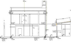 Elevation view of installation of gas water sewer building dwg file