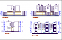Elevation with  different axis section view for multifamily building dwg file