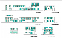 Elevation with different axis  view for administration building of government dwg  file