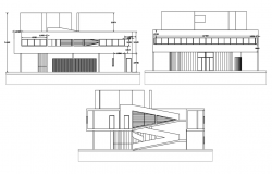 Elevation with different axis  view for bungalows building  dwg file