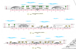 Elevation with different axis  view for car dealer ship building for dwg file
