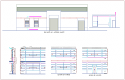 Elevation with different axis  view for construction of building dwg file