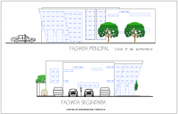 Elevation with different axis  view for culture center building dwg file