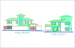 Elevation with different axis  view for duplex house building  dwg file