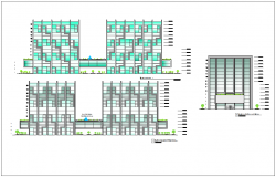 Elevation with different axis  view for finance building dwg file