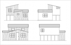 Elevation with different axis  view for housing building dwg file
