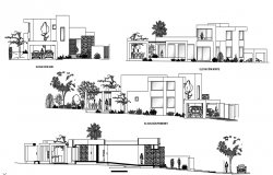 Elevation with different axis  view for housing project building dwg file