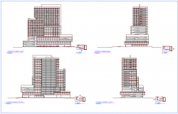 Elevation with different axis  view for office building dwg file